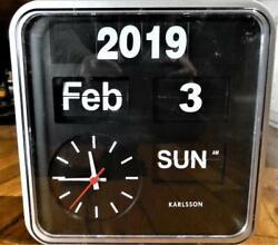KARLSSON Mini Flip Calander Retro Design Clock Silver-Black-For Parts & Repair