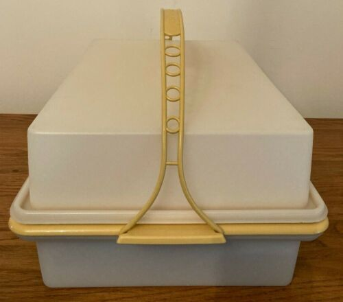 Vintage Tupperware Double Sheet Cake Carrier Taker Keeper Gold Handle #622 #623