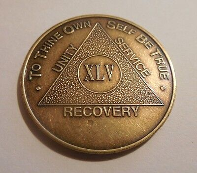 Used, aa alcoholics anonymous bronze 45 year coin token medallion for sale  Shipping to Canada