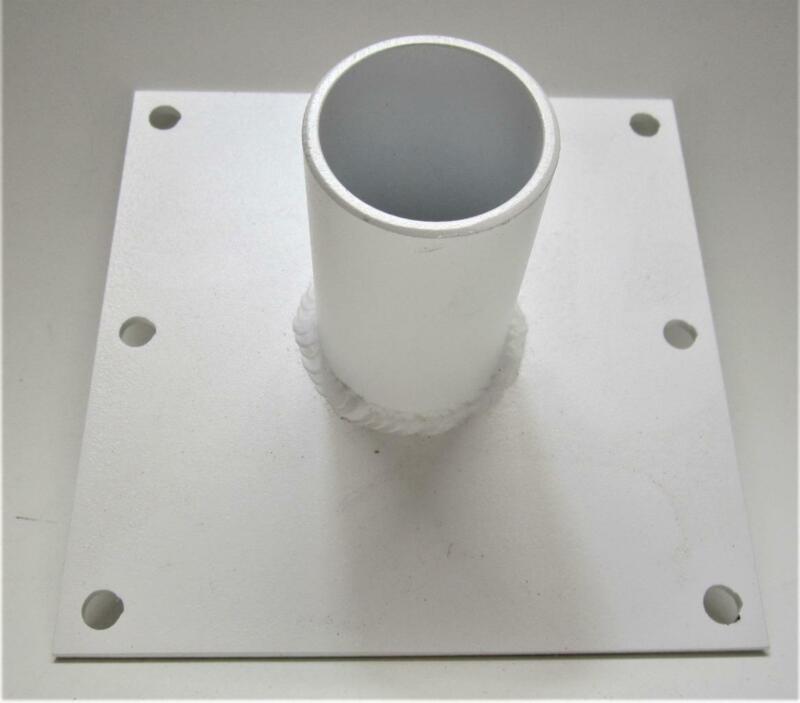 """Large 8"""" X 8"""" Base Universal Aluminum White Coated 2"""" Pole Bracket"""