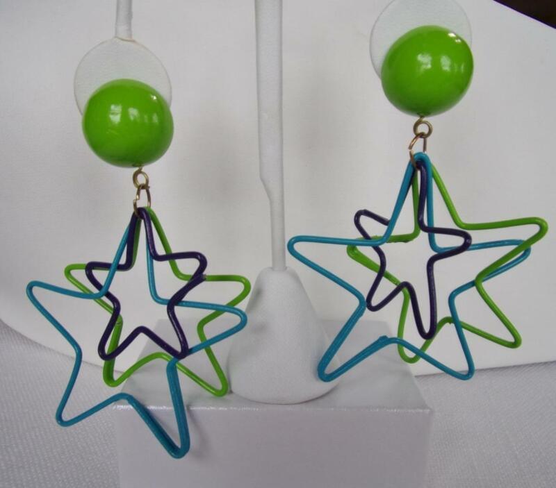 Large Blue, Green & Purple Star Wire Form Post Dangle Earrings