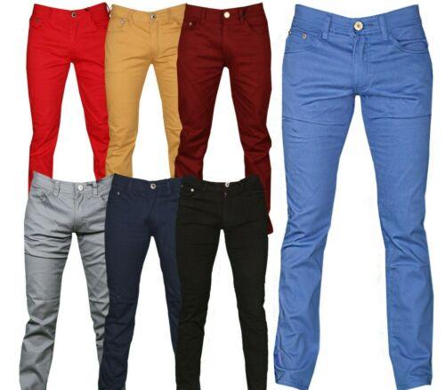 Mens Stretch Skinny Fit Jeans Fashion Spandex Chino Pants Slim Fit Sizes 30 - 40