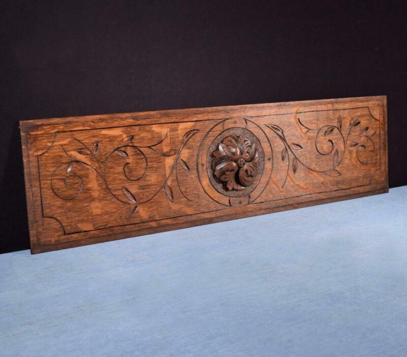 """*31"""" French Antique Hand Carved Architectural Panel Solid Oak Wood Trim"""
