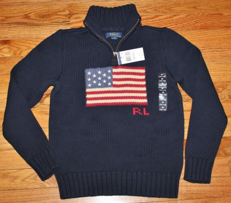 NWT Polo Ralph Lauren Boys Half Zip USA American Flag Pullover Sweater $89 *F5