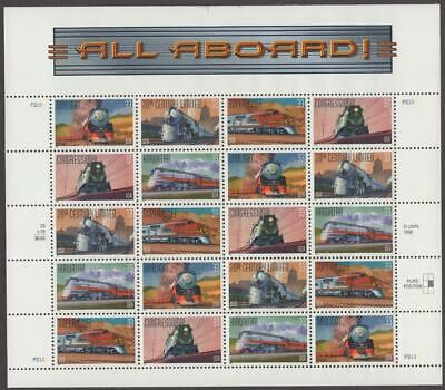 Scott # 3333-3337 - U.S. Sheet Of 20 - All Aboard Trains - MNH - 2000
