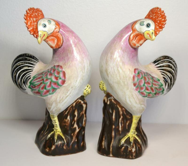 Pair of Antique 18th/19th Century Chinese Porcelain Chickens Roosters Signed