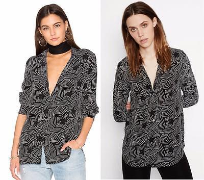 New Equipment Kate Moss Women Clean Signature Silk Black Stars Shirt XS S M $278