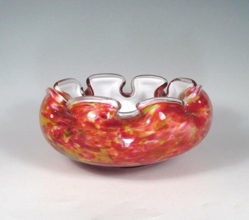 Victorian Art Glass Brides Bowl Antique Bohemian Cased Spatter Design Kralik