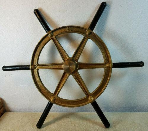 "Vintage Brass Ship Wheel ""W"" Embossed on Back Black Wood Handles 16 1/2"" Across"