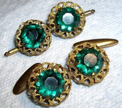 Emerald Stud Cufflinks - Vintage Unisex Emerald Green Lucite Rhinestone Cufflinks & Stud~ Set