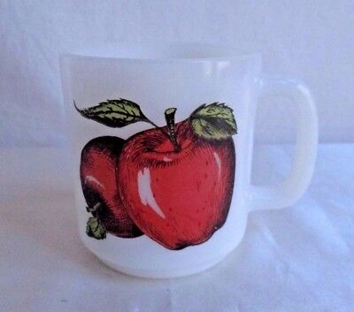 "Vintage Glasbake Milk Glass Mug Apples Heat Resistant 3.5"" Tall x 3 Across Open"