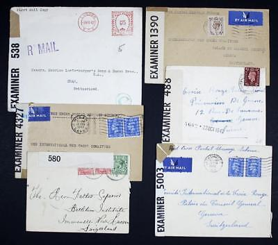 GB Covers to Switzerland x 6. Red Cross Postal Message Scheme etc