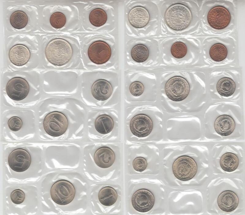 6 PORTUGUESE COLONY MINT SETS SOME RARE ANGOLA TIMOR MACAO COINS FROM 1952-1982