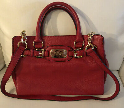 Michael Kors Classic Hamilton Small Handbag Satchel Red Pebble Leather Crossbody
