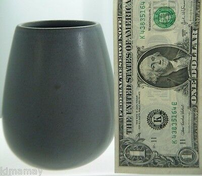 "ANTIQUE SIGNED MARBLEHEAD POTTERY MATTE GRAY 4 3/8"" VASE"