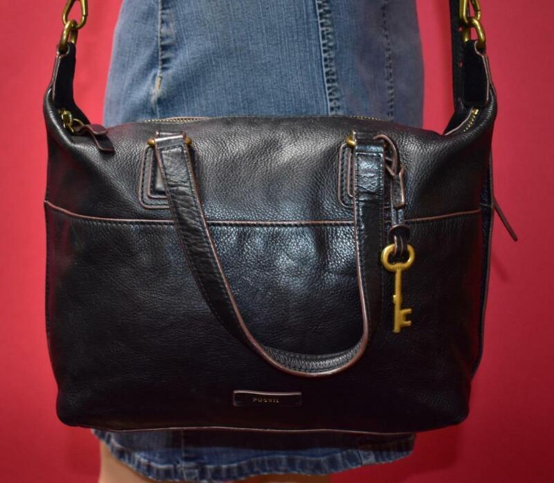 FOSSIL JULIA Black Brown Leather Domed Shoulder Crossbody Hand Satchel Purse Bag