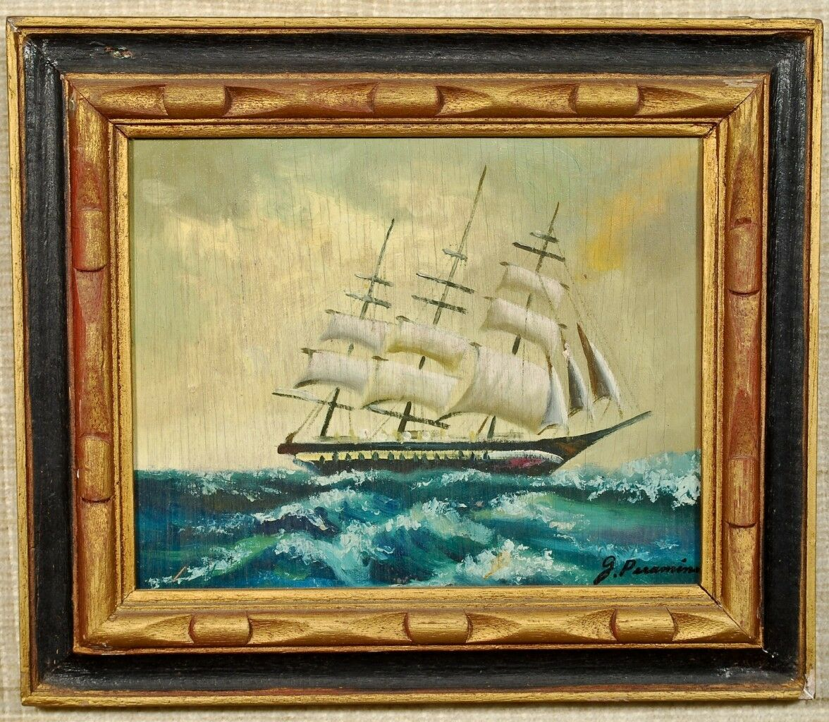 Картина Oil Painting on Wood Galleon on Rough Seas G. Peramin