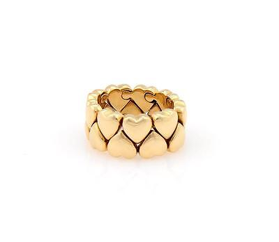 Cartier 18k Y/Gold Double Hearts 11mm Wide Band Ring Size EU 52-US 6.25