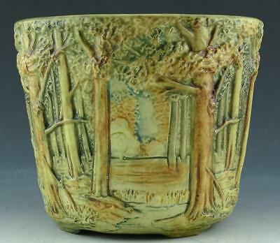 ARTS & CRAFTS WELLER WOODCRAFT POTTERY FOREST PATTERN FOOTED JARDINIERE c1900 NR