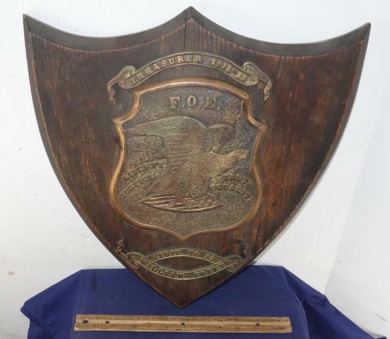1911-12 FOE FRATERNAL ORDER EAGLES CLUB WALL PLAQUE AWARD TREASURY Shield Shape!