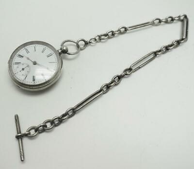 Solid Silver Watch Chain & Watch - Pocket Watch Chain & T Bar & Watch