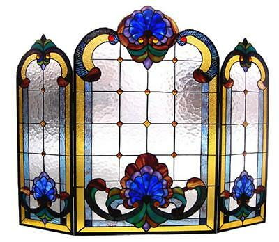Copper Victorian Fireplace Screen - Stained Glass Chloe Lighting Victorian 3 Piece Folding Fireplace Screen 40 X 31