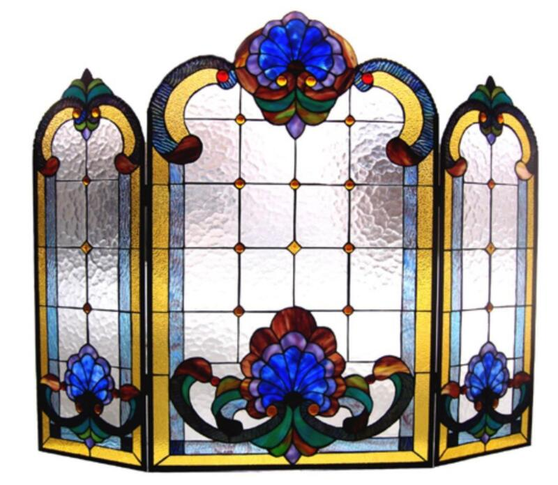 """Stained Glass Chloe Lighting Victorian 3 Piece Folding Fireplace Screen 40 X 31"""""""