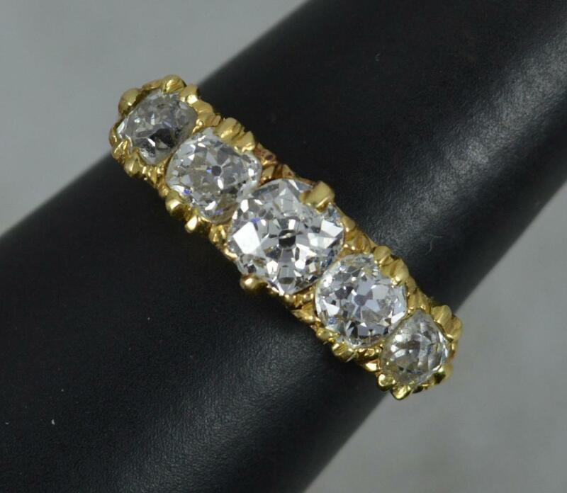 Victorian 1.50ct Old Mine Cut Diamond 18ct Gold Five Stone Stack Ring