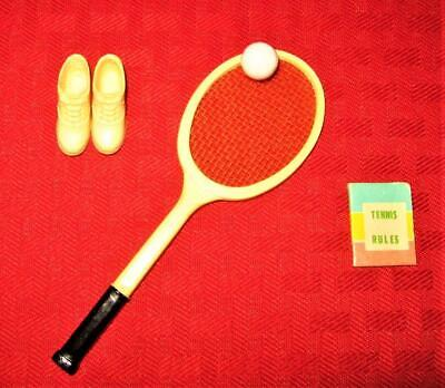 VINTAGE BARBIE 4 TENNIS CLOTHES RACKET SHOES RULES BOOK BALL ACCESSORIES LOT