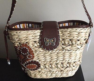 NWT~Retired~Brighton~Leather & Straw~BUTTERFLIGHT~Handbag/Purse~Adorable!
