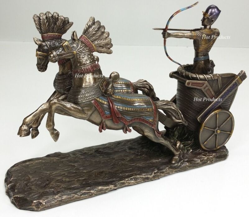 """11"""" RAMSES the GREAT Egyptian Pharaoh RAMESSES II CHARIOT Statue Sculpture"""