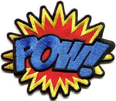 POW! superhero comics retro fun embroidered applique iron-on patch S-1191 - Superhero Pow