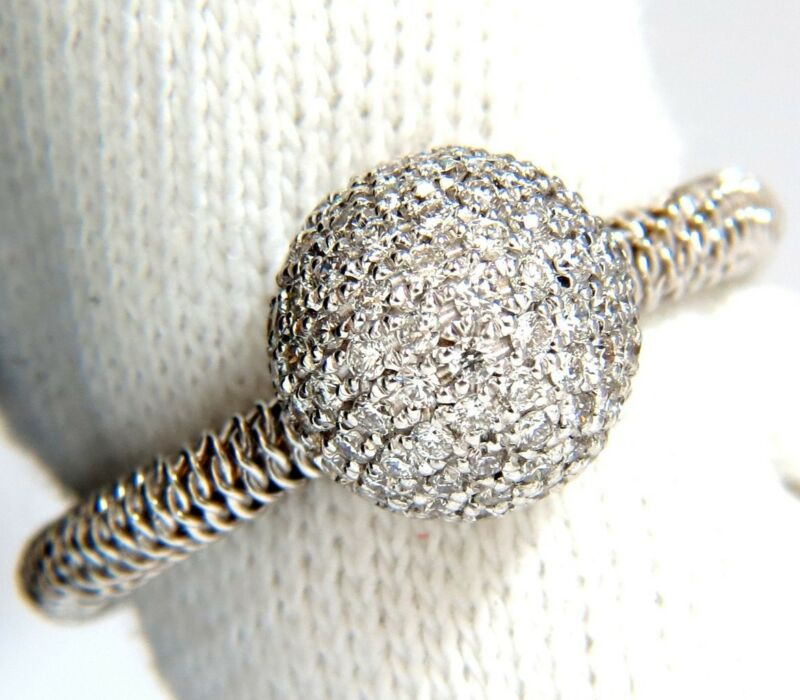 █$2800 .76ct Diamonds Bead Set Ball Ring 18kt + Coil Wire Wrapped Shank G/vs