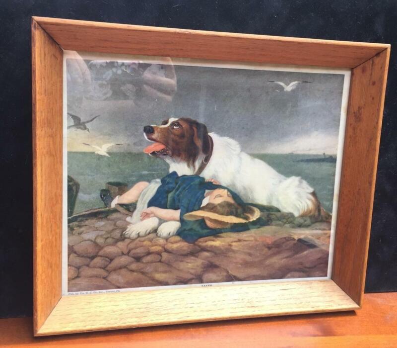 "Antique ""SAVED"" Dog and Child Young Girl Framed Lithograph Print St. Bernard Vtg"