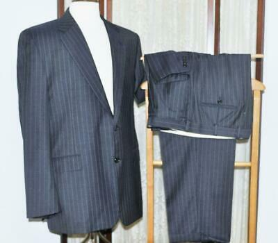 Hickey Freeman USA 44 R Loro Piana Super 130s wool navy blue pinstripe suit y2j1