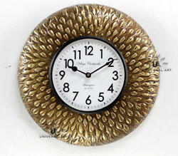 Vintage Home Decor Antique Look Brass Engraving Work Wall Clock Ethnic India 147