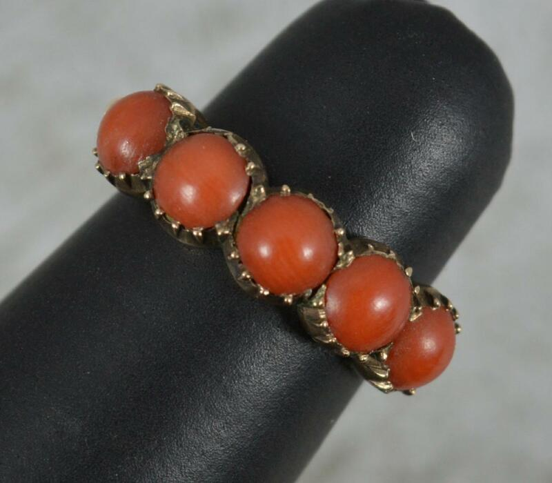 Rare and Quirky Georgian Coral and Rose Gold Half Eternity Stack Ring