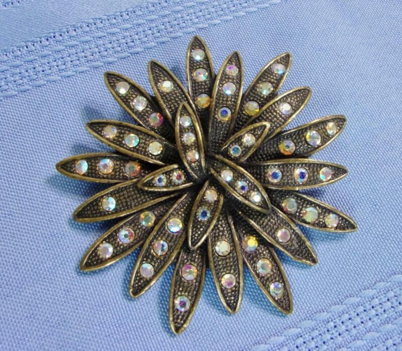 Bronze / Antiqued brass & Aurora Borealis Floral Pin Brooch