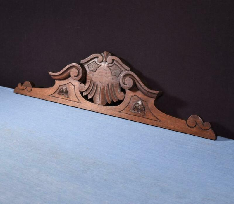"""*29"""" French Antique Solid Oak Wood Pediment/Crest with Salvage"""
