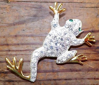 Frog Feet Costume (Vintage Leaping Frog Pin Silvertone Metal Rhinestones Goldtone Feet)