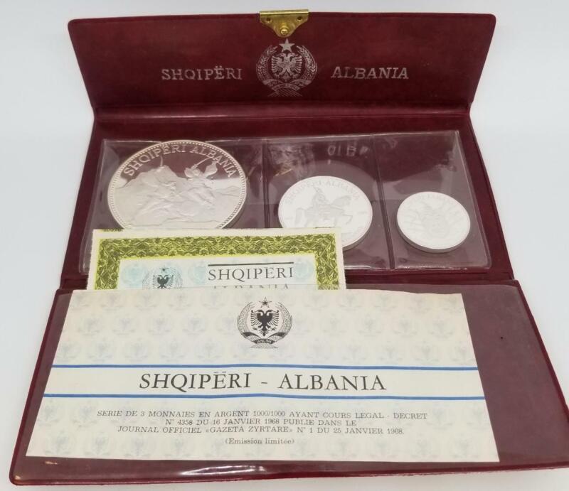 ALBANIA SHQIPERI 1969 3pc SILVER PROOF SET IN PRESENTATION WALLET ~BL81