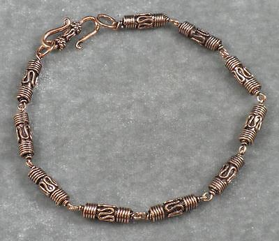 Solid Copper Antiqued Bali Style Tube Bead Link Bracelet 8 1/8