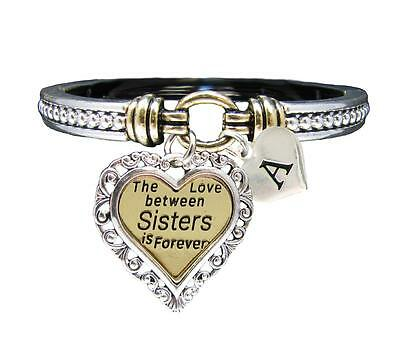 Custom Love Between Sisters is Forever Silver Gold Bracelet Jewelry Initial