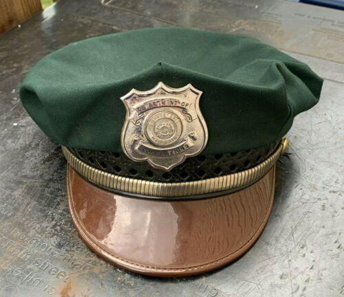 Vintage 1950s Missouri DEPT of CORRECTIONS Prison GUARD HAT + BADGE BLACKINTON