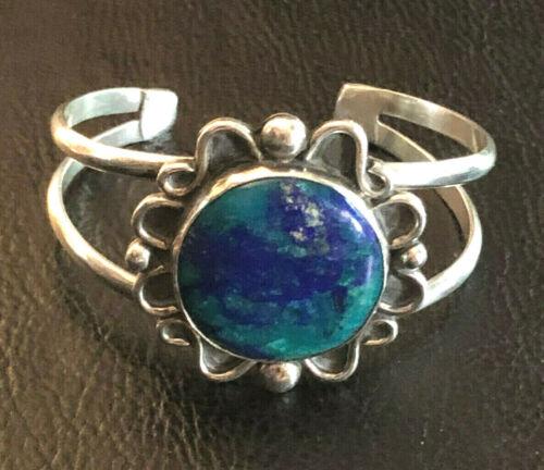 VTG Sterling Silver Bracelet Cuff Chrysocolla Southwest Native Am Signed NG 1270
