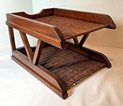 Wicker And Wood Double Desk Tray Box Paper File Organizer Shelf