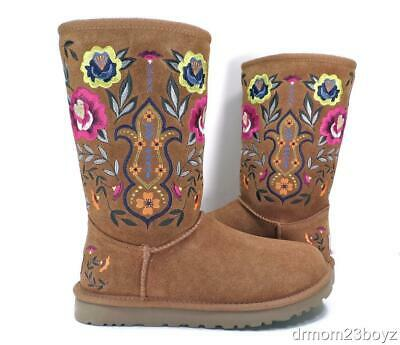 New NIB Ugg Juliette Embroidered Chestnut Brown Suede UggPure (tm) Womens Boot 6](Ugg Embroidered Boots)
