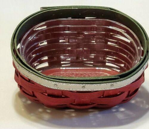 Longaberger Happy Holidays Basket & Liner Combo 2012 Red Green Silver Glitter