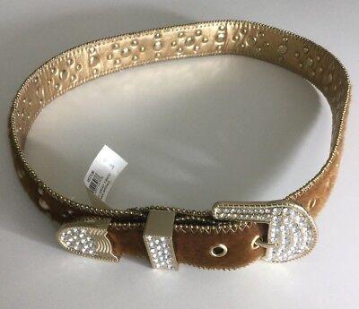 Kathy Van Zeeland Womens Belt Faux Calf Hair Studded Jeweled Bling Brown Size M ()