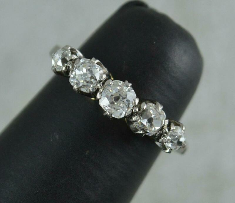Victorian 0.85ct Old Cut Diamond 18ct Gold and Platinum Five Stone Ring